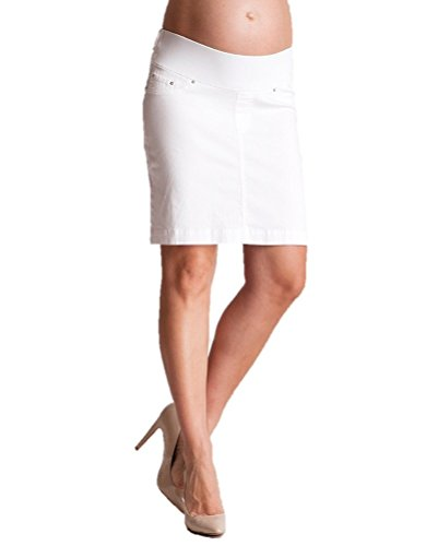 Seraphine Blakely Slim Fit Underbump Denim Maternity Skirt - White - 8 by Seraphine