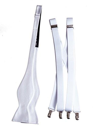 Men's Self Tie Bow Tie and Suspender Set Plain Solid 22 Colors (White) (White School Ties Color)