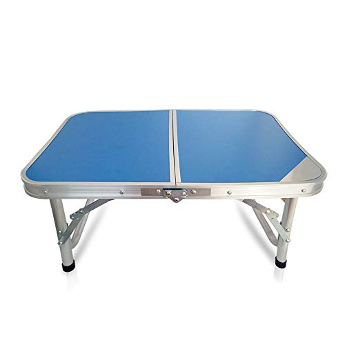 Folding Table, Outdoor Table Adjustable Height Camping Portable Folding Table Square, Picnic Table Camping Lightweight with Extended Legs, Blue