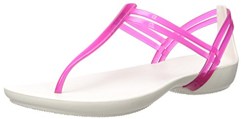 Crocs Women's Isabella T-Strap Flat Sandal, Berry/Oyster, 7 M US