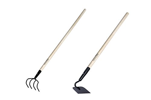 2 Pieces Garden Tools Set - Include Refuse Hook Cultivator and Forged Garden Hoe with 48