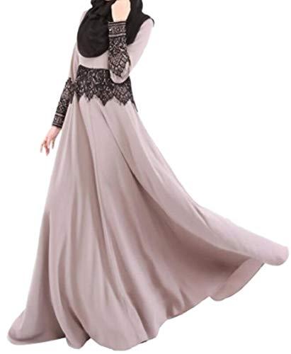 Sleeve 1 Lace Abayas Maxi Jaycargogo line Muslim Dress Islamic A Long Women's BqExE7P