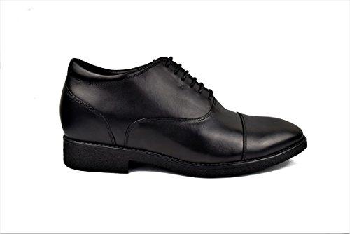 Zerimar Zapatos con Alzas Interiores DE 7 cm Calzado de Piel Estilo Elegante Zapatos Boda Hombre Color Negro Talla 40