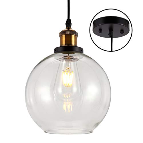 Industrial Kitchen Pendant Light with Globe Round Glass Shade, One-Light Indoor Mini Pendant Lamp, Glass Hanging Light for Kitchen Island, Restaurants, Hotels and Shop
