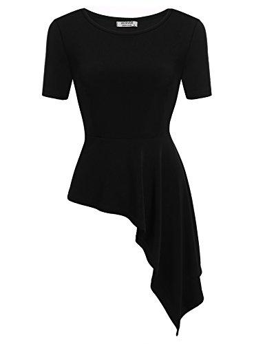 ACEVOG Women O-Neck 3 4 Sleeve Solid Slim Fit Asymmetrical Peplum Top S-M