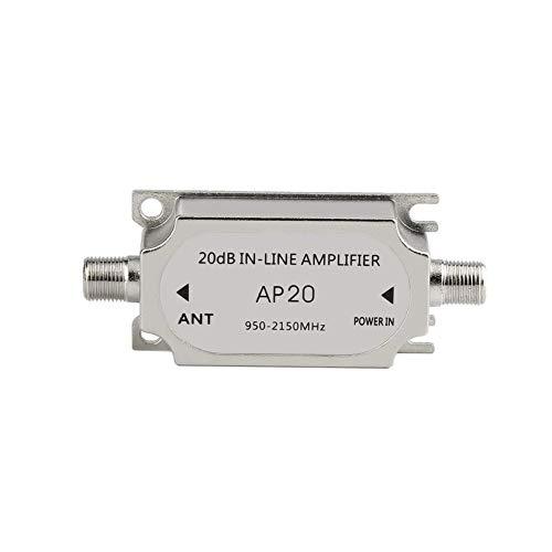 Potenciador de se/ñal del Amplificador en l/ínea satelital 20dB 950-2150MHZ para Antena de Red parab/ólica Cable Run Channel Strength