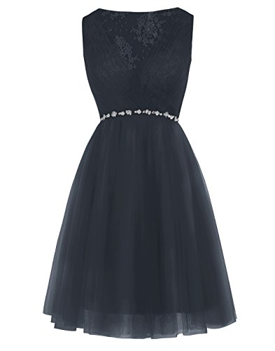 Alagirls Short Lace Prom Dress Tulle Beaded Evening Dress Homecoming Dress ALA10003NavyUS24Plus