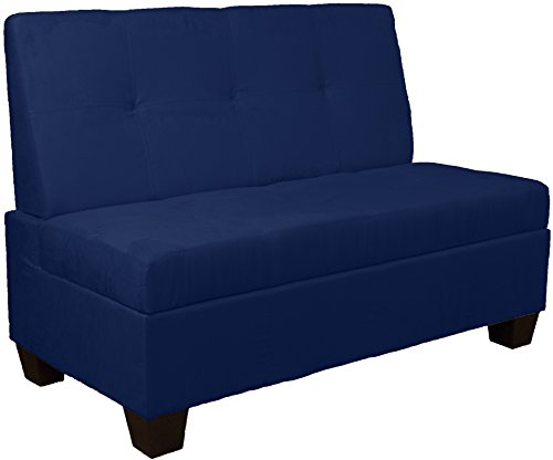 Epic Furnishings Butler Microfiber Upholstered Tufted Padded Hinged Storage Ottoman Bench, 48-inch Loft-size, Microfiber Suede Dark Blue