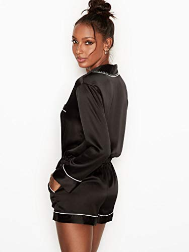 b728f22637c2 Amazon.com  Victoria s Secret Satin Pajama Romper Rhinestone Button Front  Sleepwear Black Medium  Clothing