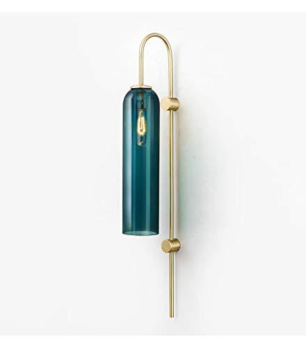 BOKT Modern Wall Sconces 1-Light Wall Mounted Light Mid Century Modern Wall Decor Stylish Lighting Lamp Long Tube Glass Vanity Light Fixture (Dark Green, Hardwired)