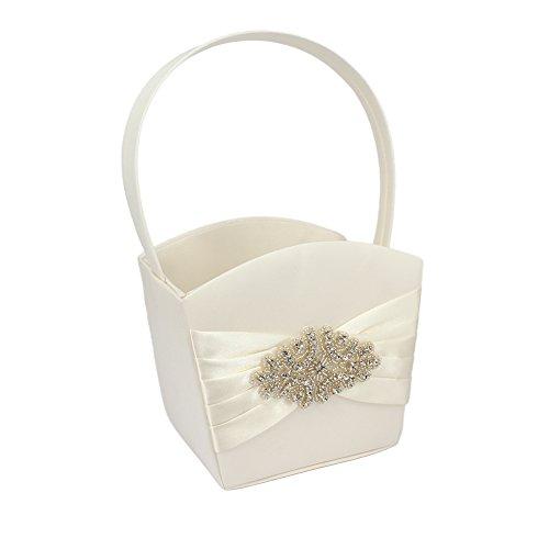 DiscountOne Retro White Bow Wedding Flower Girl Handle Basket Storage, Beaded Decoration