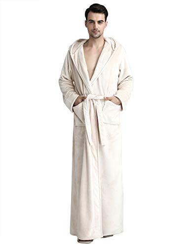 abcc33cd89 Men Women s Long Hooded Bathrobe Fleece Full Length Bathrobe with Hood  Winter Sleepwear