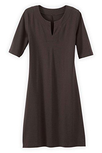 Fair Fashion Trade (Fair Indigo Fair Trade Organic Split Neck Dress (M, Dark Chocolate))