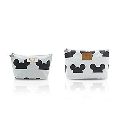Finex SET of 2 Handmade Light Blue Mickey Mouse Hat Ear Head Pattern Bag Set - One MEDIUM One SMALL - Cosmetic Makeup Bags