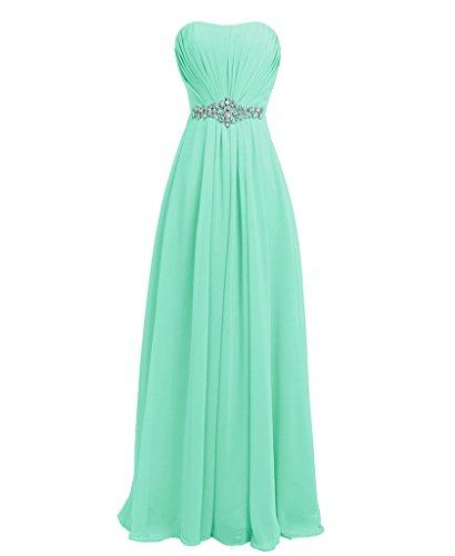 - FAIRY COUPLE Women's Maxi Long Evening Gown Lace Up Back Formal Dresses D004 US10 Mint