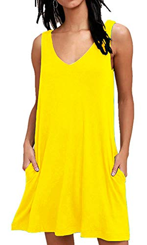 MISFAY Women's Summer Casual T Shirt Dresses Beach Cover up Plain Tank Dress with Pockets (XL, Yellow)