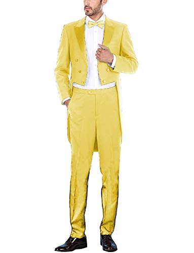Frank Men's Suit Peaked Lapel Long Tail Wedding Prom Suits Yellow]()