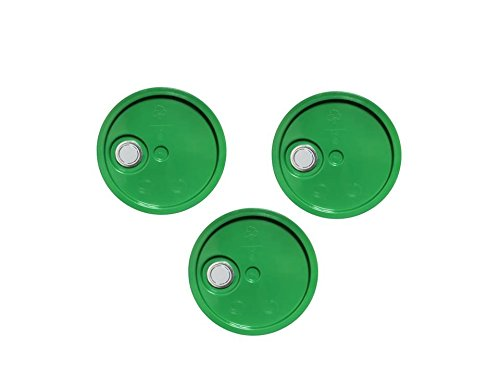 5 Gallon Bucket Lids, Green Reike Flex Spout Plastic Bucket and Pail Lid-UN Rated-3 Pack ()