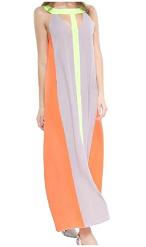 Sleeveless Maxi Big As1 Waist Hit Color Women Mid Dress Elegant Flowy Splice Baggy Crewneck Coolred Colorful Leisure Swing AwzXZX