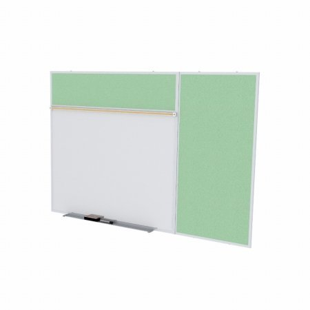Ghent SPC48B-V-189 4 ft. x 8 ft. Style B Combination Unit - Porcelain Magnetic Whiteboard and Vinyl Fabric Tackboard - Mint by Ghent