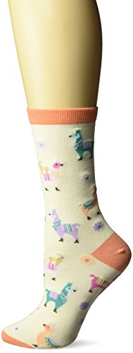 Alpaca Socks - K. Bell Socks Women's Llamas Crew, Ivory, Shoe Size 4-10