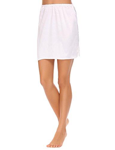 Gathered Waist Mini Skirt (Bifast Women Fashion Mini Elastic Waist Satin Under Skirts Whites)