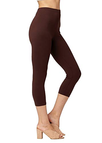 Premium Ultra Soft Womens High Waisted Capri Leggings - Cropped Length - Solid - Brown - Plus Size (12-24)