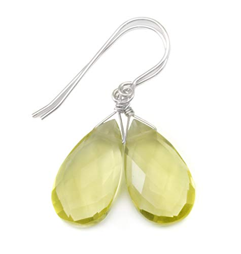 (Sterling Silver Lemon Quartz Earrings Faceted Pear Briolette Simple Teardrops Soft Yellow Dangle)