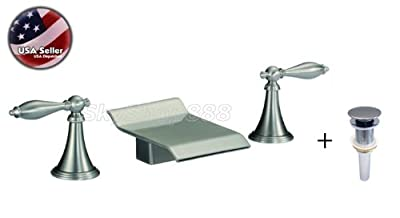 """AquaOne cUPC 4"""" Spout Wide Brushed Nickel Finish Widespread Waterfall Roman Style Lavatory Sink Faucet With Drain Combo"""