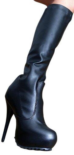 Erogance Kunstleder Plateau High Heels - Botas de Material Sintético para mujer Negro - negro