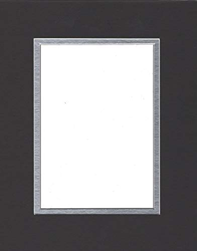 Pack of (2) 24x36 Double Acid Free White Core Picture Mats Cut for 20x30 Pictures in Black and Silver
