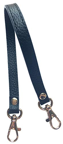 Wristlet KeyChain Strap for Wallets Bag Keys Phone Case Wristlet Strap Genuine Leather Strong&Sturdy (A Black(with 2 Gold clasp)) (Strap Wrist Handy)