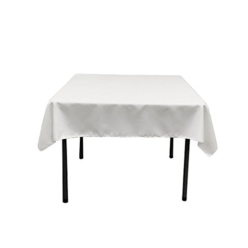 ablecloth - 52 x 52 Inch - White Square Table Cloth for Square or Round Tables in Washable Polyester - Great for Buffet Table, Parties, Holiday Dinner, Wedding & More ()