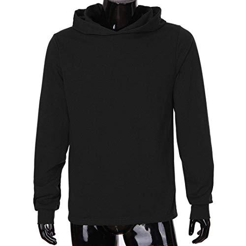Felpa Camicetta tops Top Cn Cappuccio colore Casual Lunga Solid Qiusa Uomo Men Dimensione Manica Nero Xluk Con Grigio Clearance 20 qC74nRxY