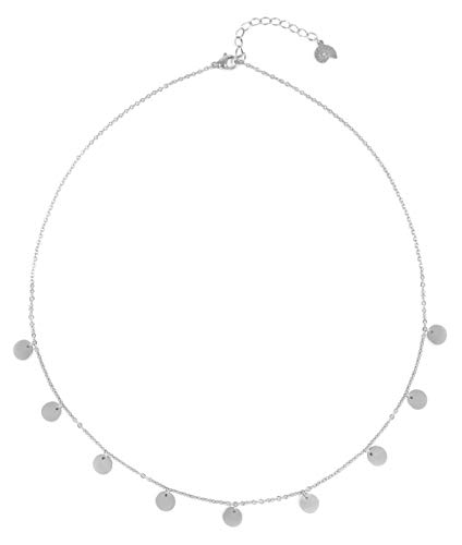 Happiness Boutique Multi Circles Necklace in Silver Color | Necklace with Round Disc Pendants