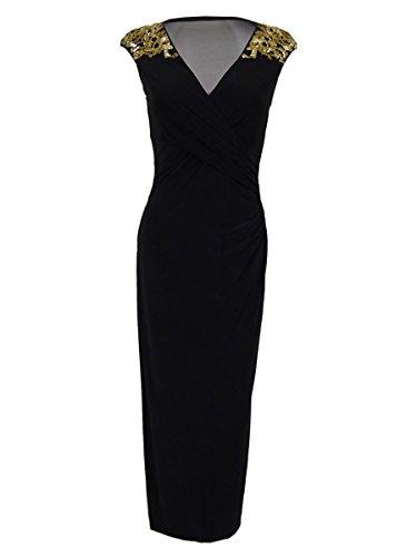 Lauren Ralph Lauren Womens Beaded Mesh Inset Evening Dress Black 8
