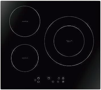 Placa de inducción HOGARCLICK HCKI3-7117BM, 7.100 W, tres zonas de cocción y cristal biselado.: Amazon.es: Hogar