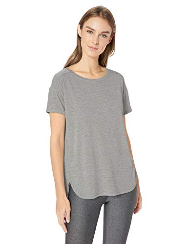 Amazon Essentials Women's Studio Relaxed-Fit Lightweight Crewneck T-Shirt, -medium grey heather, Large