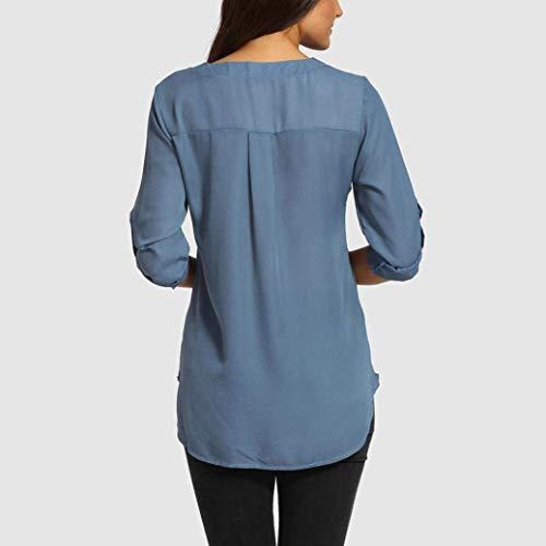 Top Mode Mode Bouffant Confortable Uni Mousseline Shirt Cou Et Blouse Dame Manche Chemise V 4 Elgante Irrgulier Casual Blouse Blau Manches Battercake Jeune 3 Femme xHgUqUI