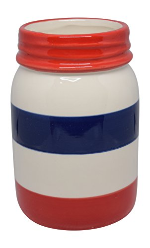 Red White and Blue Striped Decorative Ceramic Mason Jar