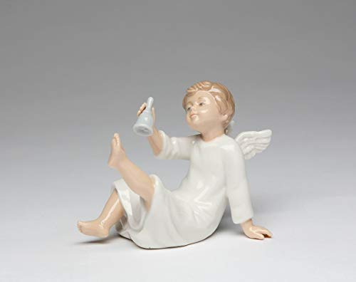 Cosmos Gifts Fine Porcelain Angel Ringing Bell Figurine, 5-1/4