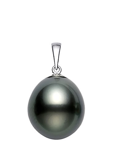 14K White Gold AA Quality Baroque Black Tahitian Cultured Pearl Pendant (15x16mm)