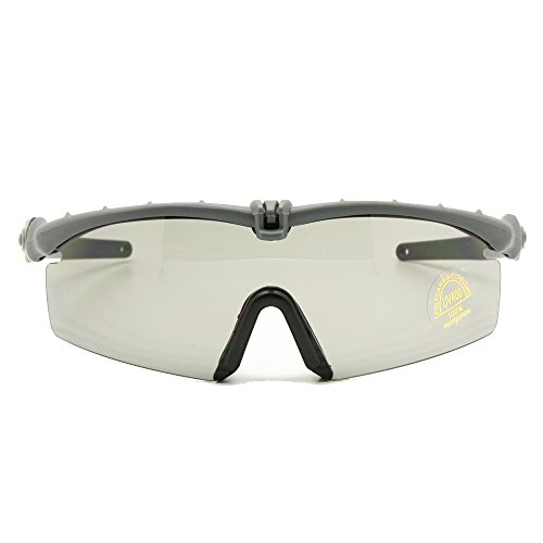 (Polarized Army Sunglasses Ballistic Military Goggles Combat War Game Eye Shield (grey, 3 Lens))