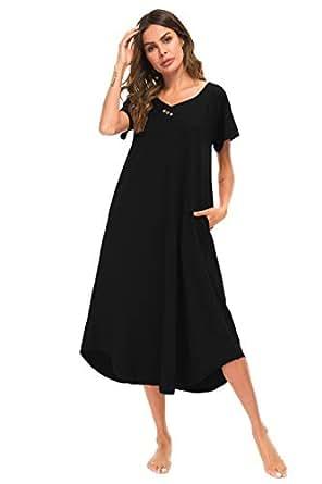 89d637be9 YOZLY Womens Lounger Cotton Knit Short Sleeve Long Sleeping Gown S-XXL ( Black