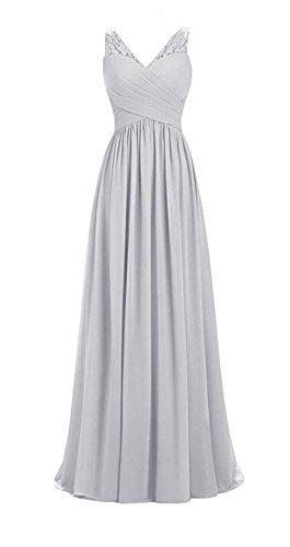 V Womens Long Wedding Bridesmaid Line Chiffon A Neck Party Silver Sleeveless Lace Dresses ddwqOr