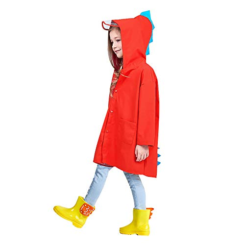 Van Caro Unisex Kids Dinosaur Raincoat, Rain Wear for Boys Girls 3-8 Years Old, Red M ()