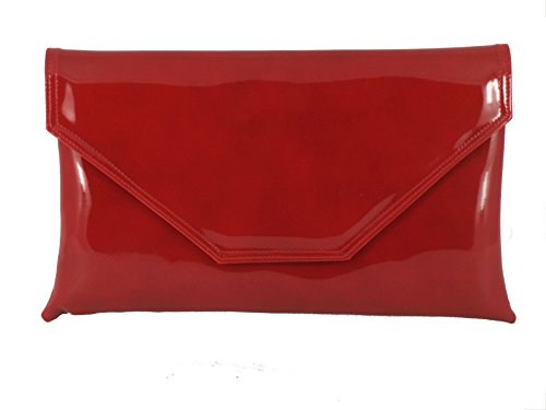 Loni Womens Stylish Large Envelope Patent Clutch Bag/Shoulder Bag Wedding Party Prom Bag in Cherry Red