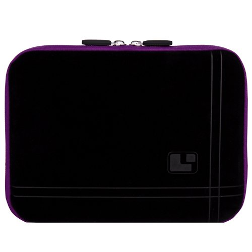 Travel friendly Black and Purple Plum 13 inch Laptop Sleeve to fit your Samsung S series NP300V3AI Ultrabook. Exterior is lined with Soft Micro suede and interior in lined with bubble cushion + Vangoddy Live Laugh Love Bracelet + Universal Earbuds + Wireless Mouse