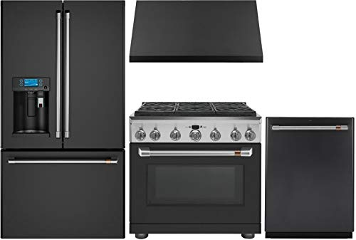 "GE CAFE 4 Piece Kitchen Package with CFE28UP3MD1 36"" Smart Refrigerator, C2Y366P3MD1 36"" Dual Fuel Range, CVW93613MDS 36"" Wall Mount Hood and CDT866P3MD1 24"" Smart Built In Dishwasher in Matte Black"