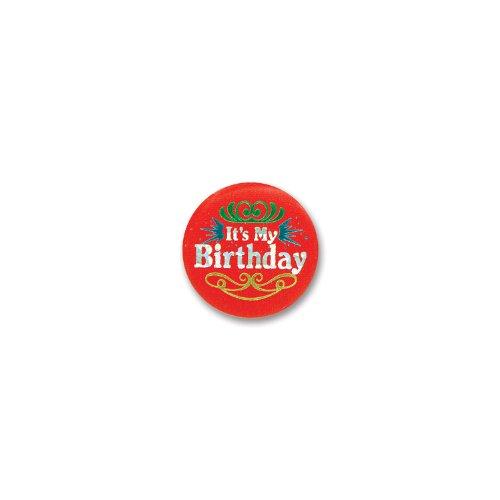 Beistle Red It's My Birthday Satin Button]()